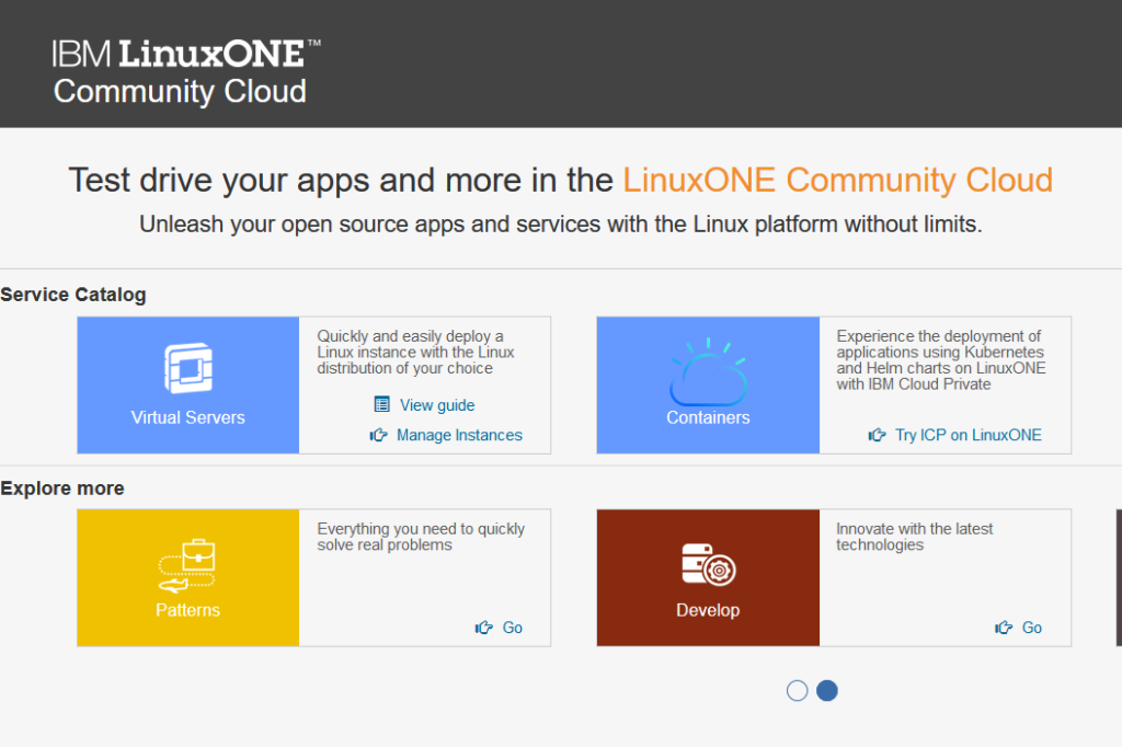 LinuxONE Community Cloud Options (screen shot)